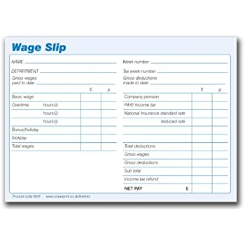 Wage Slips Pads, 100 Sheets Per Pad, Pack Of 5 Pads (500 Wage Slips)  Blank Wage Slips
