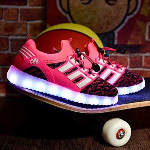 LED leuchtende bunte Sneaker Turnschuhe Unisex Kinder Jungen Mädchen USB Auflade Sportschuhe leichte Schuhe 1832 Pink