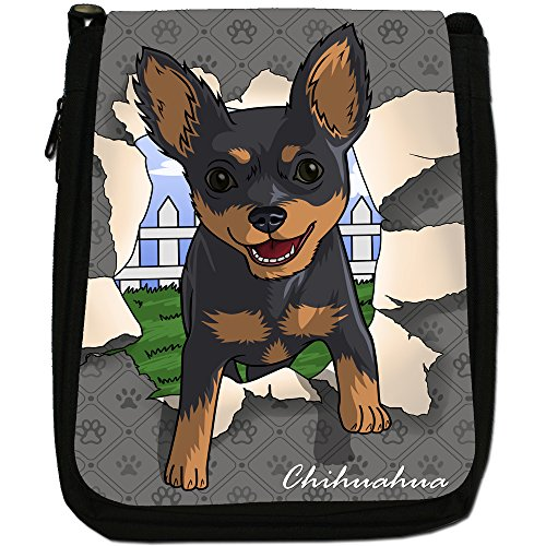 Spezzare cani medium nero borsa in tela, taglia M Chihuahua Breaking Through