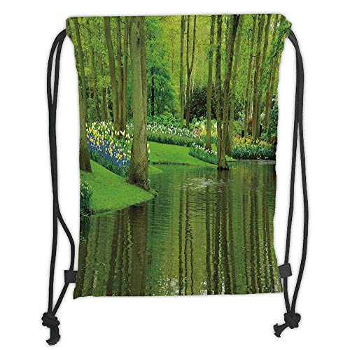 Fashion Printed Drawstring Backpacks Bags,Nature,Forest with Lake Dutch Garden Pastoral Woodland Botany Flowerbed Picture Decorative,Fern and Lime Green Soft Satin,5 Liter Capacity,Adjustable Stri -