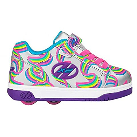 Heelys Dual Up HX2 Childrens Kids Wheel Skating Shoes (13 UK Child, Silver/Purple/Rainbow)