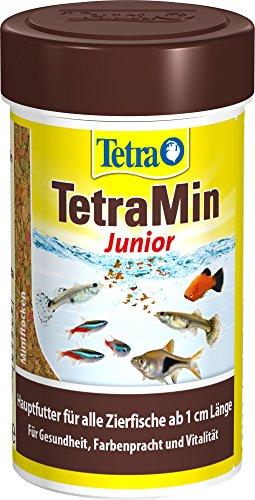 TetraMin Junior (spezielles Wachstumsfutter für heranwachsende Jungfische ab 1 cm Länge, mit Präbiotika für verbesserte Körperfunktionen und Futterverwertung), 100 ml Dose (Tetra Fisch Neon)