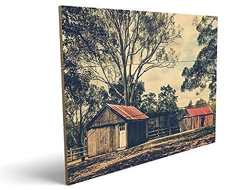 Alte Ranch, qualitatives MDF-Holzbild im Drei-Brett-Design mit hochwertigem und ökologischem