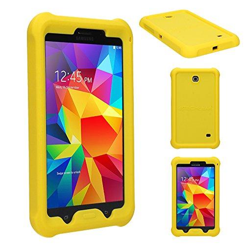 TECHGEAR Schutzhülle für Samsung Galaxy Tab 4 7,0 (SM-T230 SM-T231 SM-T235), [Kinderfreundlich] Leichtes Koffer Silikon Soft Shell Anti-Rutsch-Shockproof verstärkte Ecken + Displayschutzfolie. Gelb (7-tragetasche Hd Fire Kindle)