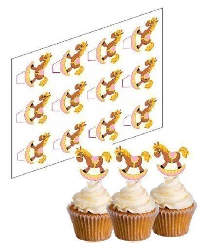 12 Schaukel Pferd Pink Cupcake Stäbchen 'Aufstehen' reispapier kuchendekoration (ungeschnitten)