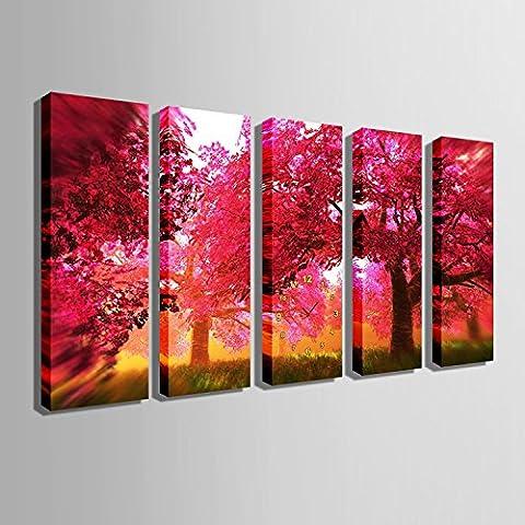 ZRF-pittura Clock Paesaggio della foresta rossa pittura decorativa orologio camera camera da letto soggiorno sala da pranzo bambini senza frame ,30 * 90CM?senza