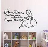 Wiwhy Wand Stickedecals Alice Im Wunderland Cartoon Kaninchen Tee Zeit Katze Mädchen Kinderzimmer Schlafzimmer Zitate Vinyl Sticke95X57Cm