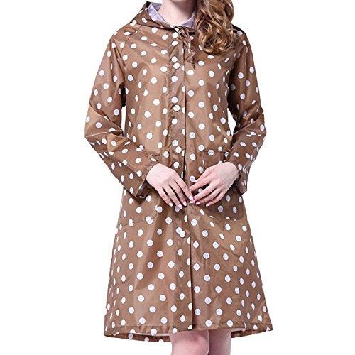 LAEMILIA Women's Long Dot Print Waterproof Raincoat Rainwear Rain Jacket Wind Coat (khaki)