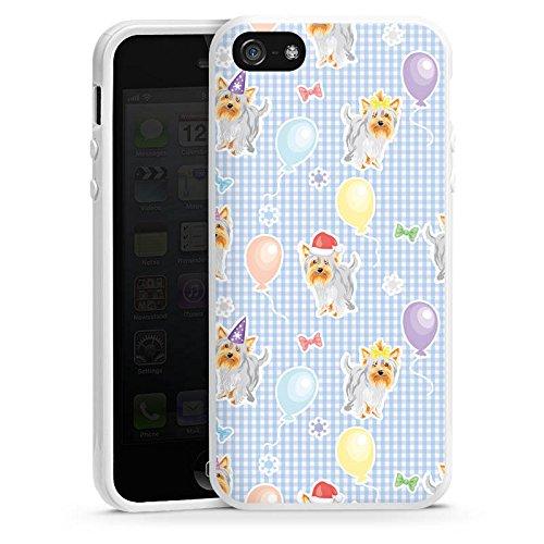Apple iPhone SE Housse Outdoor Étui militaire Coque Chiens Yorkshire Anniversaire Housse en silicone blanc