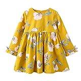 Kobay Kinder Baby Mädchen Langarm Blumen Bowknot Party Prinzessin Kleider(3-4T,Gelb)