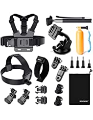 Zookki Accessoires Trousse pour GoPro Hero Black Silver 5 4 3+ 3 2 1, et pour Caméra Accessoires d'action Caméra SJ4000 SJ5000 SJ6000/ Lightdow/Xiaomi Yi/WiMiUS/DBPOWER/Campark
