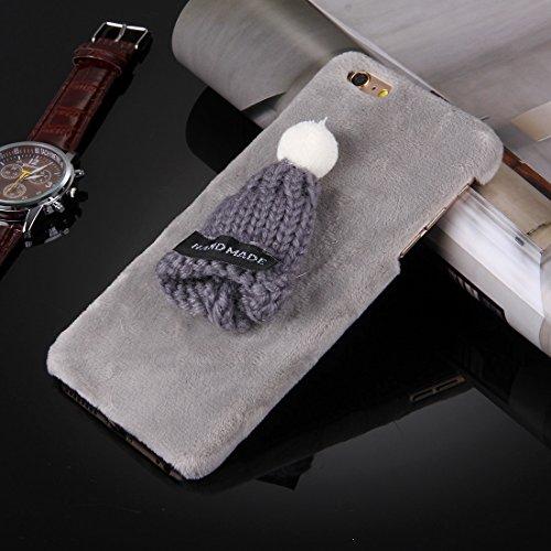 iPhone Case Cover Pour iPhone 6 Plus & 6s Plus Chapeau de Noël Housse en tissu en peluche Housse de protection pour PC ( Color : Pink ) Grey