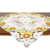 Tischdecke SPÄTSOMMERWIESE, 85x85 cm, beige - Ecru, Moderne Mitteldecke für Den Sommer und Herbst