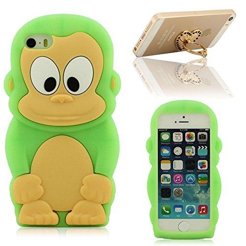 Bello Animale Stile Aspetto Silicone Custodia Case per iPhone 5 5S 5C 5G, Carina Piccolo Scimmia Colorato Stile Case Cover Anti-Shock Premio Case + Anello Titolare Verde