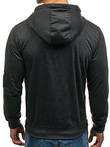BOLF Kapuzenpullover Sweatshirt Hoodie Kapuze Pullover mit Reißverschluss  Mix 1A1 AnthrazitST7037