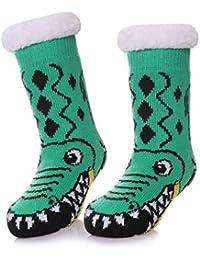 Kids Slipper Socks Boy Girl Cute Animal Socks Soft Fuzzy Warm Thick Fleece lined Christmas Stockings Child Toddler Winter Socks