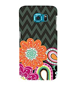 Fuson Designer Back Case Cover for Samsung Galaxy S6 G920I :: Samsung Galaxy S6 G9200 G9208 G9208/Ss G9209 G920A G920F G920Fd G920S G920T (ZigZag Black Grey Alternate Flowers)