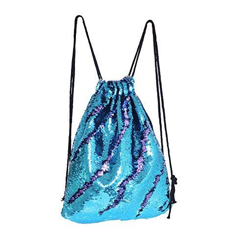 Drcosy Borsa Con Paillettes Sirena Con Coulisse Paillettes Zaino Glitter Zaini Mermaid Borse Di Danza Magica Per Bambini Adulti (35x45 Cm) Blu / Viola