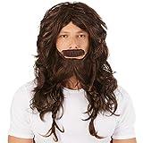 Perruque pour homme viking, brun | Y compris une barbe cool | Le costume parfait pour les hommes forts