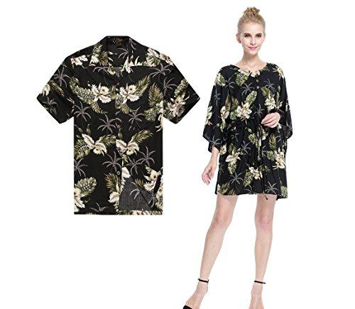 Paar passende Hawaiianer Luau Aloha Hemd Poncho-Kleid im Palmengrün im Schwarzen M (Womens Kleider Luau)