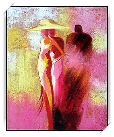 Haehne Modern Chapeau Femmes Toiles en coton Impression Oeuvres Peintures à l'huile Photo Imprimé sur toile Art mural pour les décorations maison à la chamber, 50 *75cm(20 *30Inch), Avec cadre