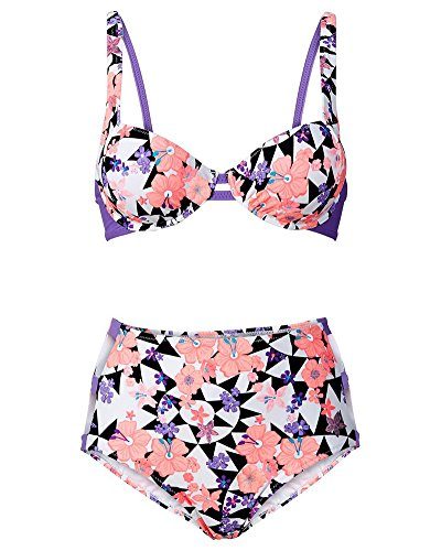 Damen Push-up Bikini-Sets BH Hohe-Taille Bandage Bademode Blumen Muster Beachwear Badeanzug Als Bild