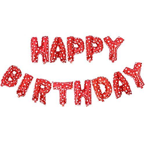 Longra Geburtstag Luftballons, geburtstagsdeko für Mädchen Junge und Erwachsene, Happy Birthday Balloons Hängender Alphabet Folien Banner Ballon für Partydekoration
