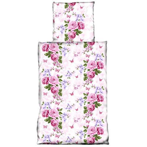 Rose Bettdecke (JEMIDI Bettwäsche 2 teilg 135cm x 200cm Bett Garnitur Set Bettdecke Kopfkissen Bettbezüge Bettbezug Singlebett Bettengarnitur Mädchen Jungen (Rosen))