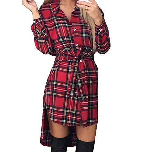 Trada Damen Slim Fit Plaid Kleid Retro-Look Klassik Karierte Hemdkleid Lange Ärmel Taste Beiläufig Mode Krawatte Strampler Kleid Mädchen Party Cocktail Kleid mit Gürtel (Rot, M) (Button, Schleife Gürtel)
