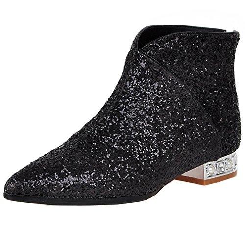 ENMAYER Femmes Paillettes Charme Style Cheville Bottes Noir