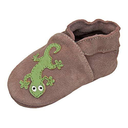 Lappade Baby Lederpuschen Hausschuhe Lederschuhe Schläppchen mit Wildledersohle, Gr.-28/29 EU (4-5 Jahre), Art. 154 Geckos Beige Wildleder