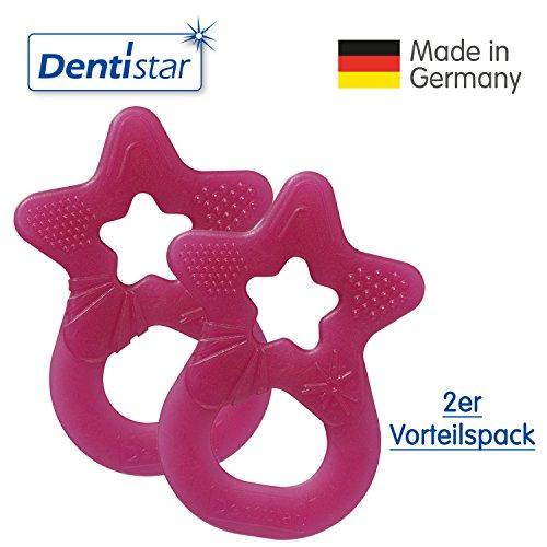 Dentistar® Beißring im 2er-Set - Stern - Zahnungshilfe für Babys ab 3 Monate - Kühlbeißring Baby aus TPE - Made in Germany – Pink