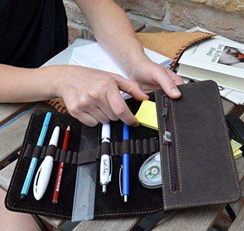 """Gusti Leder studio """"Casper"""" porta penne portacolori astuccio università ufficio vintage vera pelle unisex verde oliva 2S2-22-11"""