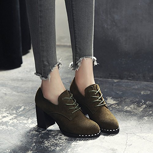 FUFU Scarpe Donna Scarpe Heels Autunno Inverno Comodità Heel Tondo Tacco Per Casual Ufficio Carriera ( Colore : 1002 , dimensioni : EU39/UK6/CN39 ) 1001