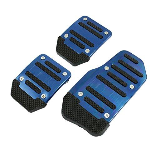 3 Pcs Black Blue Plastic Metal Nonslip Pedal Cover Set for Car R SODIAL