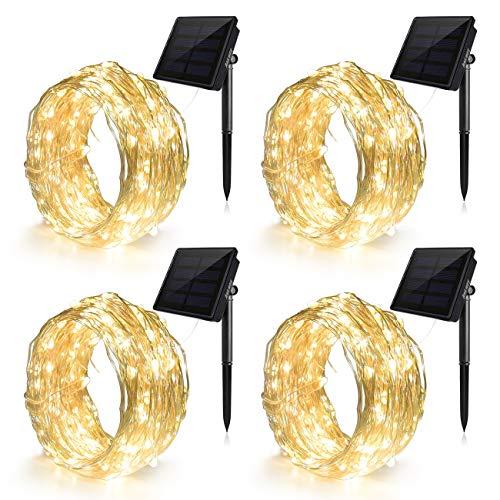 Ankway Solar Lichterkette LED Lichterketten (4 Packung 100LED 8 Modi) mit 11M Biegbarer Kupferdraht, Hohe Effizienz Wasserdichte Außen für Innen Draussen Garten Hochzeit Weihnachten Deko-Warmweiß
