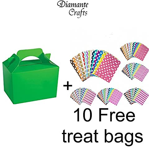10 Party Boxes Cardboard Lunch Food Loot Treat Box 13 Colours (Neon Green - 10 Solid Colour) Plus 10 free Paper Treat Bags