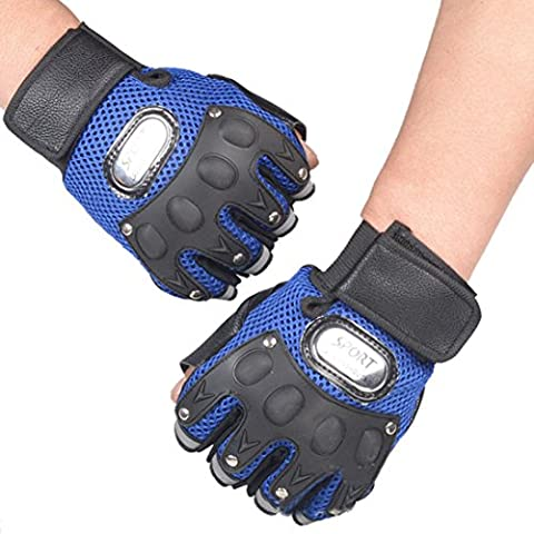 Kolylong Gym Body Building Training Gloves for Sports Weight Lifting Workout Exercise (Blue)