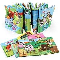 YeahiBaby Libro de Tela no Tóxico Aprendizaje Temprano de Alfabeto Animales Verduras Juguetes Educativos para Bebé Niños 6 Piezas