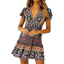 Vestidos Cortos Mujer Verano, Vestido de Bohemia de Cintura Alta Casual Sexy para Mujer Vestido Midi Estampado Nacional De Cuello En V Mujeres Vestidos Boho de Playa niña