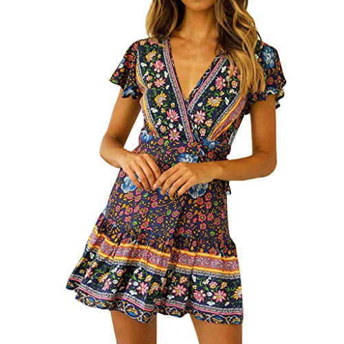 kolila Damen Casual Midikleid T-Shirts Sommer Sale Damenmode V-Ausschnitt Boho Ethnic Print Kurzarm Kleid Bluse Tops(Marine,L)