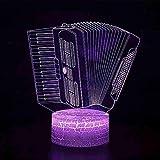 Led 3D 7 colori che cambiano la luce notturna Pulsante a sfioramento per bambini Forma a fisarmonica Lampada da scrivania Decorazione domestica USB Regalo per l'illuminazione del sonno