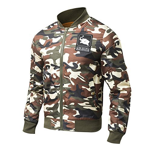 Men Fashion Zipper Jackets with Pocket Rain Outerwear for Spring Camouflage M