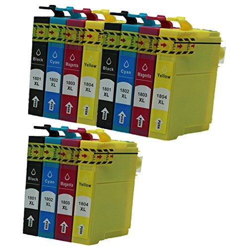 Preisvergleich Produktbild Generisch Kompatible Tintenpatronen Ersatz für Epson 18 XL T18 T1806 ( T1801 T1802 T1803 T1804 ) Hohe Kapazität Tintenpatronen Kompatibel für Epson Expression Home XP-202 XP-305 XP-415 XP-412 XP-215 XP-312 XP-212 XP-102 XP-405 XP-205 XP-302 XP-402 XP-315 XP-405WH XP-30 Tintenpatronen für Inkjet Drucker (3 Schwarz,3 Cyan,3 Magenta, 3 Gelb)