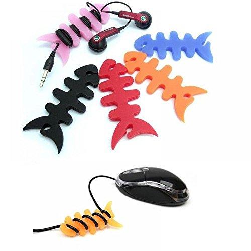 ICYANG 10 Stücke Silikon Fischgräte Kabel Organizer Ohrhörer Kabelaufwickler Kopfhörer Draht Wrap Halter Zufällige Farbe - Cd-player Draht