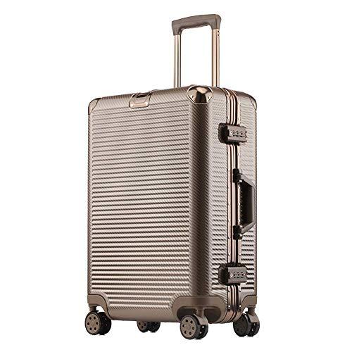 YUNY 24 \/ 60cm leichte und langlebige Hartschale ABS Tragegepäck Koffer Gepäck Reisetasche 4 Räder und eingebautes Zahlenschloss (41 * 23 * 60CM)-brown