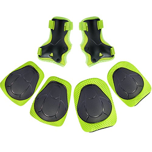 Children Knee Pads, Elbow Pads Wrist Guards Protective Gear Set for Skateboard, Rollerblades, Biking, Riding, Cycling, Bicycle and outdoor Activities (Green)