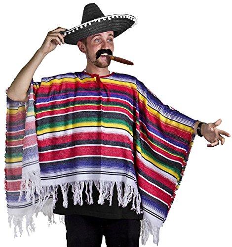 ILOVEFANCYDRESS Poncho mexicano Sombrero & Tash Western