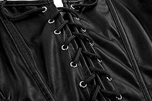 Martya Damen Gothic Kunstleder Korsagenkleid Vintage Korsett Corsage Clubwear Übergrößen Schwarz