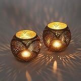 2er Set Orientalische Laternen Ilies aus Messing | Echte Handarbeit | Windlichter Gartenwindlichter Teelichthalter Kerzenhalter Marokkanische Tischlaternen für Lichtspiele wie aus 1001 Nacht | L1726